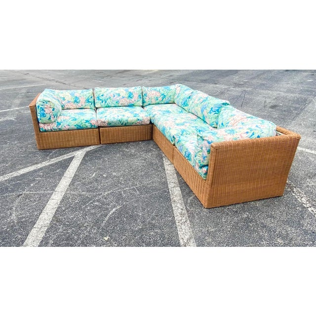 Vintage Coastal Woven Rattan Printed Sectional For Sale In Miami - Image 6 of 13