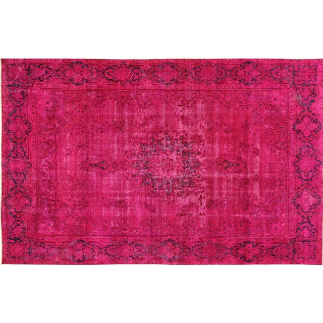 """Pink Overdyed Oriental Floral Rug - 9'6"""" x 14'10"""" - Image 1 of 10"""