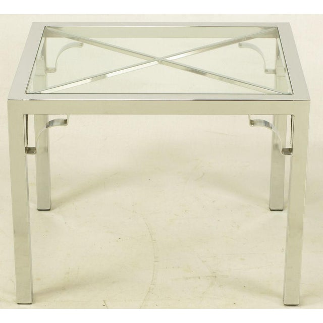 Chrome Parsons Style Chinese Chippendale X-Top End Table - Image 4 of 7