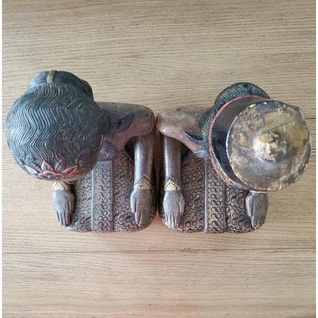 Mid 20th Century Indonesian Carved Wood Statues, a Pair For Sale - Image 5 of 9