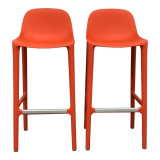 Philippe Starck Orange Broom Barstools - A Pair