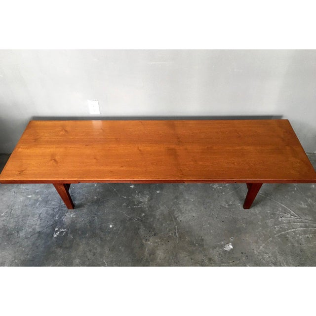Danish Modern Coffee Table Bench W/ Slide Out Trays - Image 6 of 7