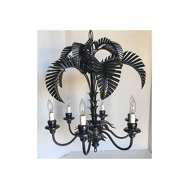 Tole Palm Tree 6-Arm Chandelier - Image 2 of 8