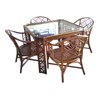 Brown Jordan Rattan Bamboo Dining Table & Chairs For Sale