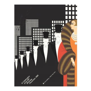 "Erte Erte's 89th Birthday 30.5"" X 23"" Serigraph 1981 Art Deco Black & White, Multicolor For Sale"