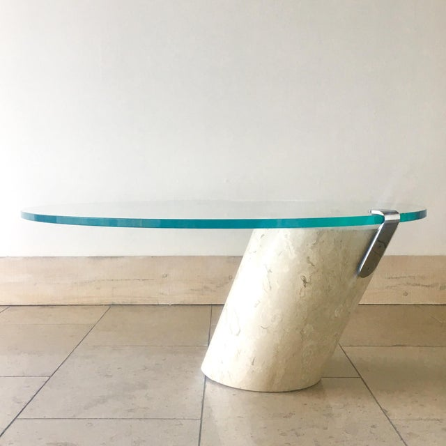 1980s Travertine and Glass Cantilevered Coffee Table 1980s For Sale - Image 5 of 8