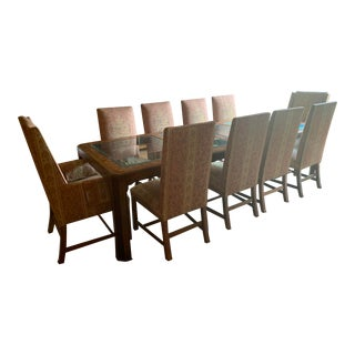 1970s Parsons Glass and Burl Wood Dining Set For Sale