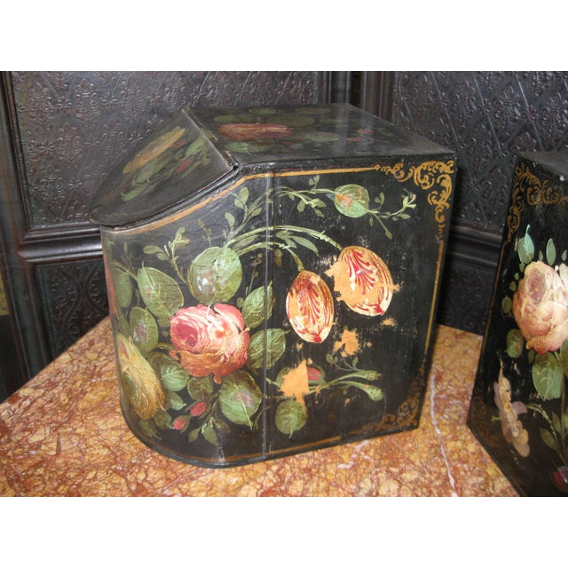 Antique English Painted Tole Storage Containers - Pair For Sale - Image 4 of 7