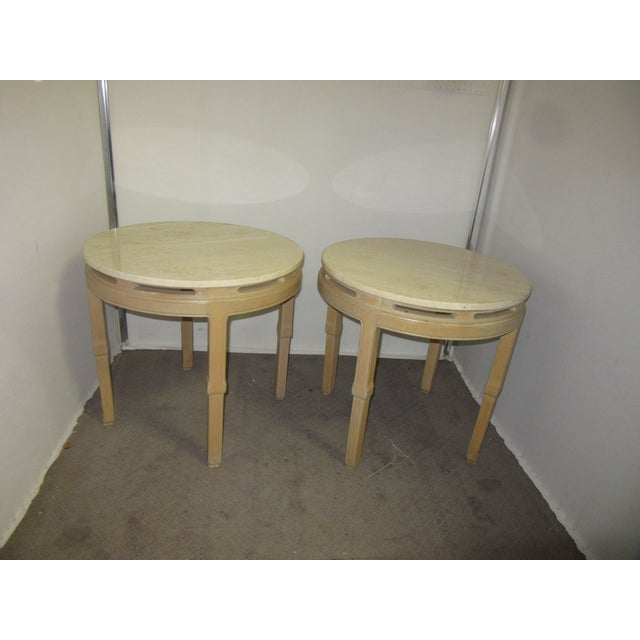 Blush Asian Style Round Table With Marble Tops - a Pair For Sale - Image 8 of 8