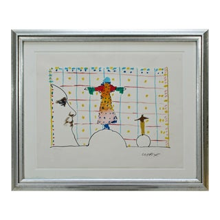 Mid Century Modern Framed Peter Max Pencil Signed Lithograph Quadrillage 106/250 For Sale