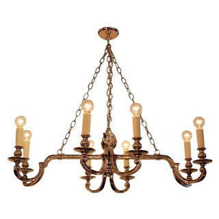 Antique Neoclassical Nickel Plated Bronze 8 Arm Chandelier For Sale