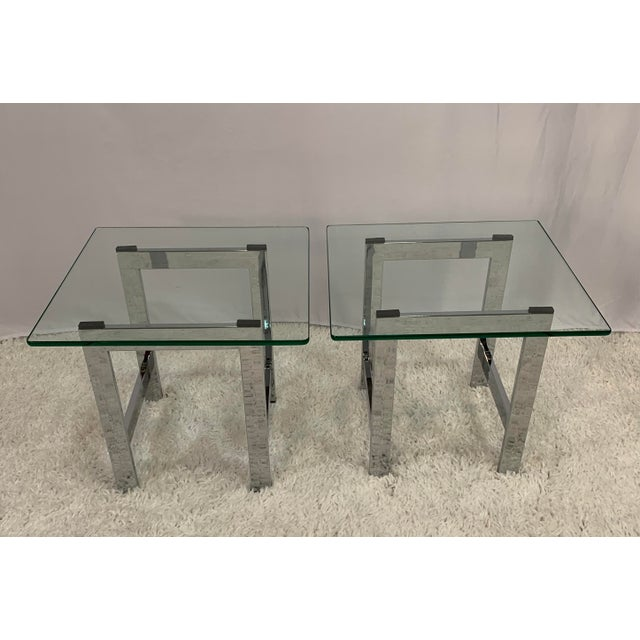 Mid-Century Modern Milo Baughman Style Mid-Century Chrome and Glass Side End Tables -- a Pair For Sale - Image 3 of 9