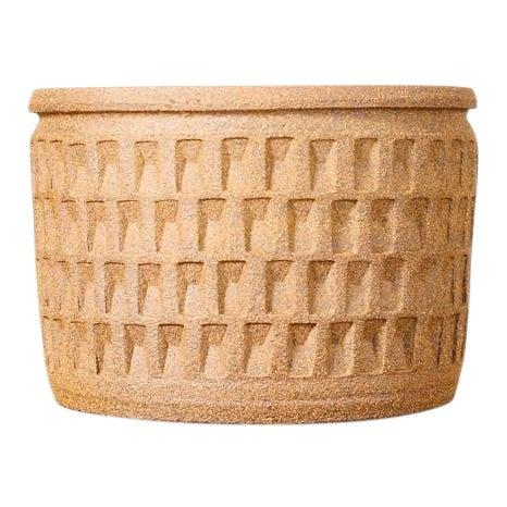 Christian Boehr Ceramic Stoneware Planter — Small Weave Pattern — Raw Exterior | Glazed Interior — P20 For Sale