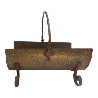Antique Footed Brass Firewood Log Holder With Handle For Sale