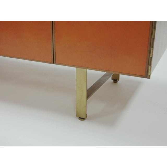 Calvin Credenza in Orange leather and Mahogany by Paul McCobb for Calvin For Sale - Image 4 of 11
