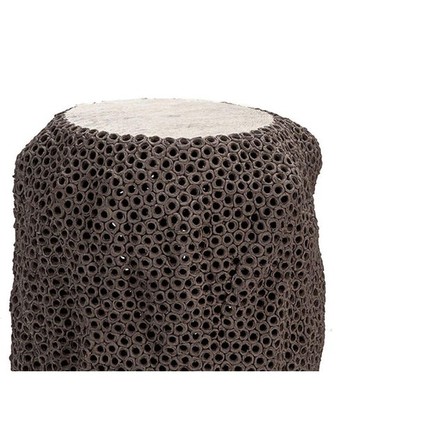 Contemporary Gilles Caffier Mocha Colored Hand Built Pierced Earthenware Side Table, For Sale - Image 3 of 5
