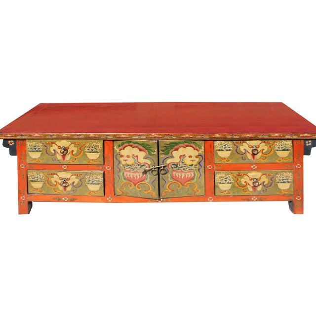 Chinese Orange Tibetan Skull Foo Dogs Console Table