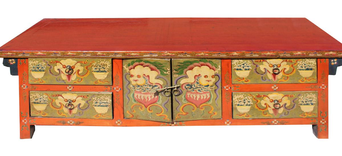 Chinese Orange Tibetan Skull Foo Dogs Console Table Cabinet For Sale    Image 5 Of 8