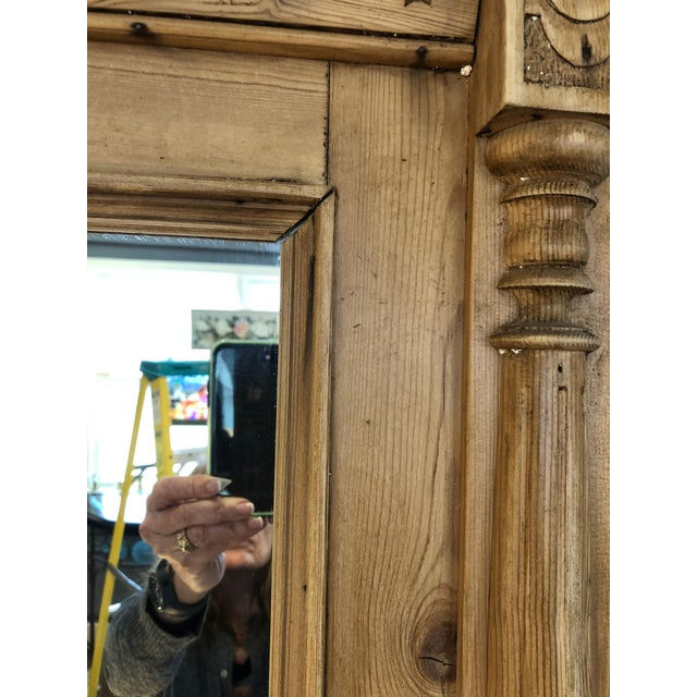 Wood Vintage Swedish Natural Carved Wood Mirror For Sale - Image 7 of 13