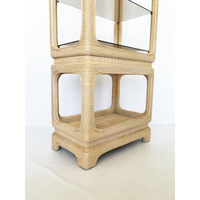 Pair of Vintage Mid-Century Modern Pencil Reed Bamboo Rattan Etageres For Sale In Dallas - Image 6 of 12