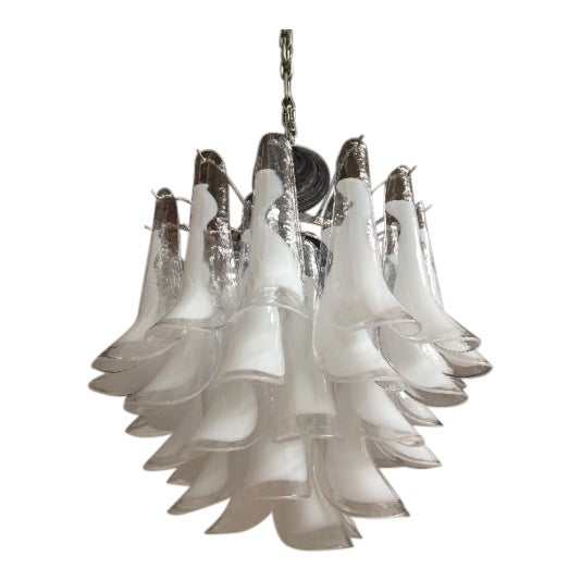 "Mazzega Style Chandelier Vintage Murano Glass ""Selle"" For Sale"