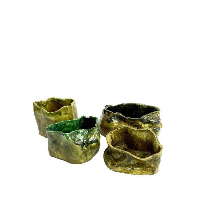 Olive Green Abstract Ceramic Pots - Image 3 of 7