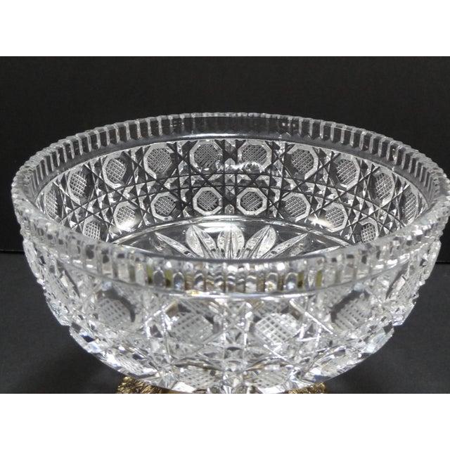 Vintage Cut Crystal Compote Dish on Metal Pedestal For Sale - Image 4 of 8