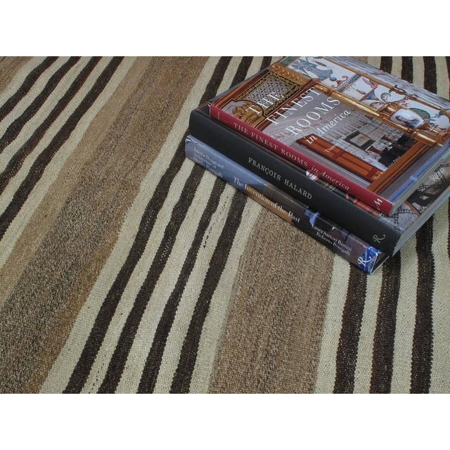 Striped Kilim Wide Runner in Natural Brown For Sale In New York - Image 6 of 9