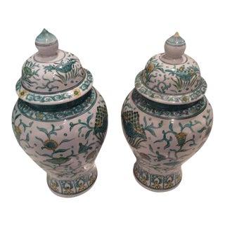 Vintage Green Asian Oriental Greek Key Hollywood Regency Ginger Jars - a Pair For Sale