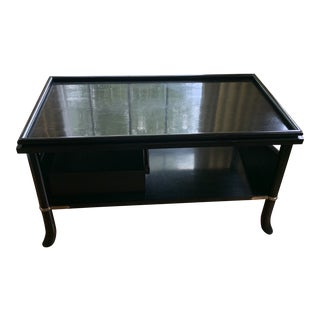 Japanned Black With Silver Accents Baker Furniture Tiered Table Console For Sale
