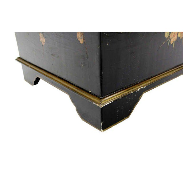 Wood Vintage Mid Century Oriental Hand Painted Black Lacquer Bar Chest For Sale - Image 7 of 10