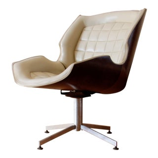 Mid Century Modern George Mulhauser Plycraft Swivel Chair For Sale