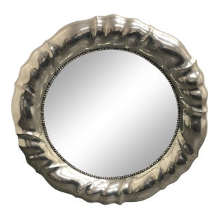 Silver Scalloped Round Wall Mirror