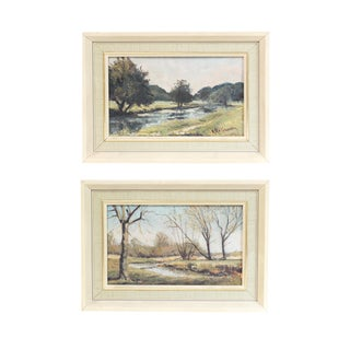 Small Framed Landscape Paintings - Set of 2 For Sale