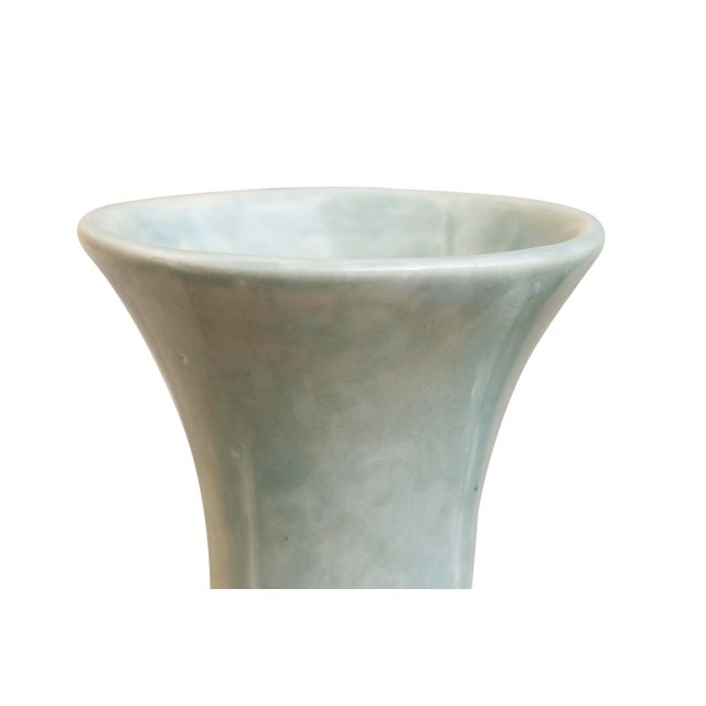 Asian Ceramic Vases in Pastel Mint, a Pair For Sale - Image 3 of 6