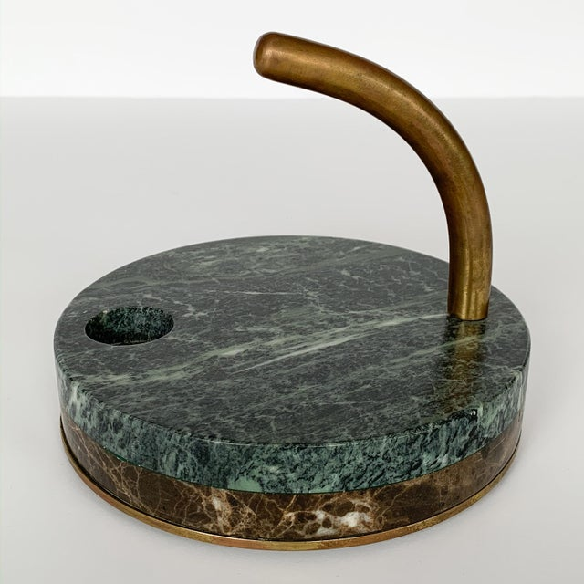 1980s Italian Modernist Marble and Bronze Candleholders - a Pair For Sale In Chicago - Image 6 of 10