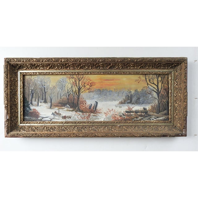 1900 - 1909 Antique Rustic Sunset Winter Scene Distressed Painting For Sale - Image 5 of 5