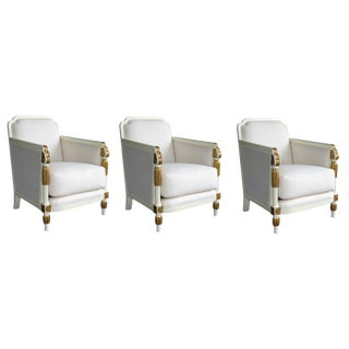 French Art Deco Ivory-Lacquered & Parcel-Gilt Club Chairs-Set of 3 For Sale
