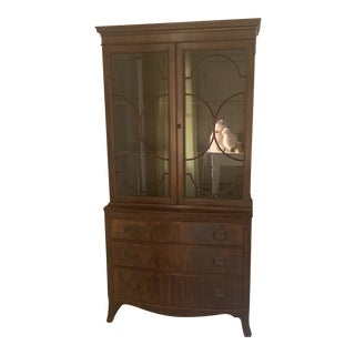 Antique Mahogany China Display Cabinet For Sale