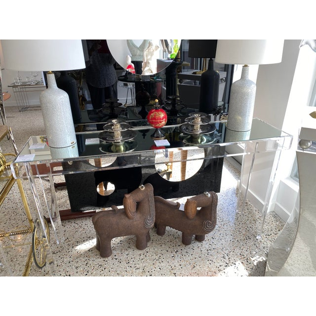 """Modern Vintage Lucite and Mirror Console 60"""" - Floor Sample For Sale - Image 3 of 13"""