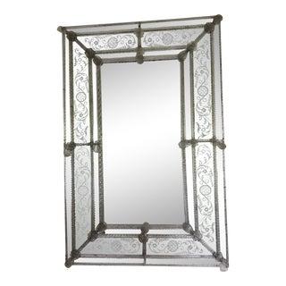 Large Antique Venetian Glass Mirror For Sale