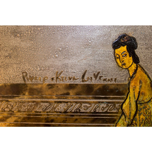 Asian Phillip and Kelvin LaVerne Etched, Patinated, and Polychromed Bronze and Wood Art For Sale - Image 3 of 5