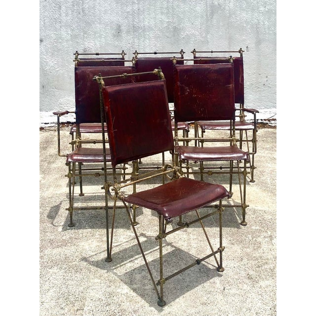 Vintage Brutalist Sculpted Rebar Dining Chairs in the Manner of Ilana Goor - Set of 6 For Sale - Image 9 of 13