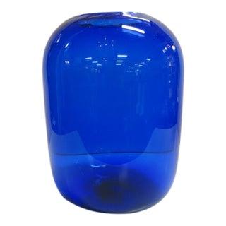 1960s Vintage Blenko Mid Century Modern Cobalt Pill Vase For Sale