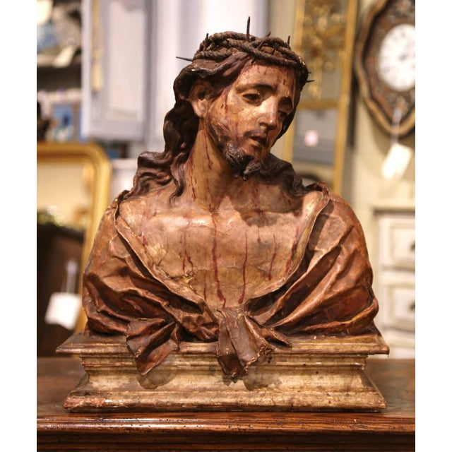 18th Century Italian Carved Paper Polychrome Mâché Christ Bust on Wooden Stand For Sale - Image 9 of 9