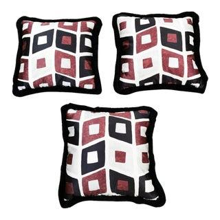 Dedar Satin Fabric and Velvet on the Back Hand Made Pillows - Set of 3 For Sale