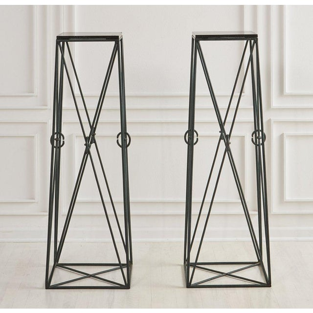 Pair of Verdigris Iron and Black Marble Pedestals by Casa Bisque For Sale In Chicago - Image 6 of 6