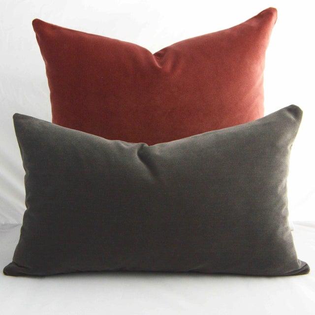 Contemporary FirmaMenta Italian Solid Gray Velvet Lumbar Pillow For Sale - Image 3 of 6