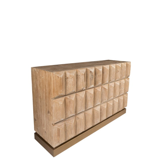 Lorenzo Elm Wood Console With Drawers For Sale