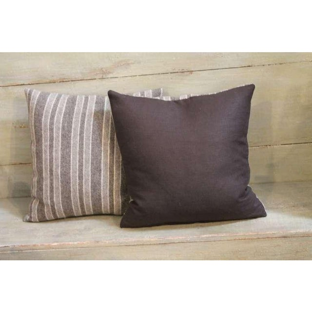 Traditional Late 19th Century Brown and Tan Wool Striped Pillows For Sale - Image 3 of 4